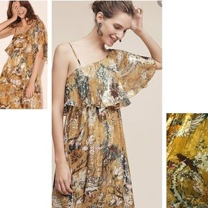 Anthropologie Blooming sleeves bird gold dress new